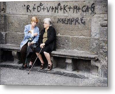 Two Women In Naples Metal Print by Jim  Calarese