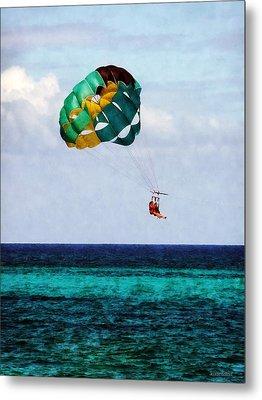 Two Women Parasailing In The Bahamas Metal Print by Susan Savad