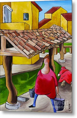 Two Women Under Tile Roof Metal Print by William Cain