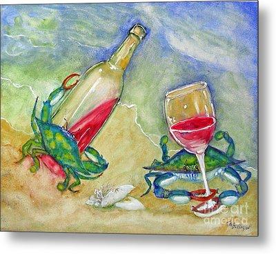Tybee Blue Crabs Tipsy Metal Print by Doris Blessington