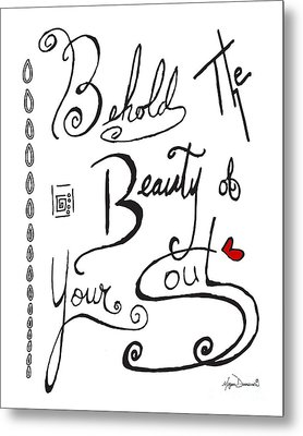 Typography Black And White Word Art Unique And Whimsical Drawing By Megan Duncanson Metal Print by Megan Duncanson