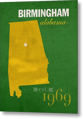 Uab University Of Alabama At Birmingham Blazers College Town State Map Poster Series No 009  Metal Print by Design Turnpike