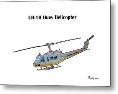 Uh-ih Huey Helicopter Metal Print by Barry Jones