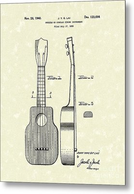 Ukelele 1940 Patent Art Metal Print by Prior Art Design
