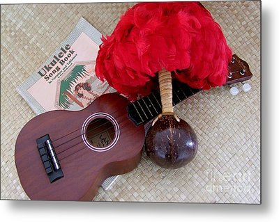 Ukulele Ipu And Songbook Metal Print by Mary Deal