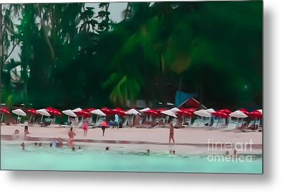 Umbrella Beach Metal Print by Perry Webster