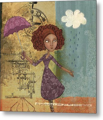 Umbrella Girl Metal Print by Karyn Lewis Bonfiglio