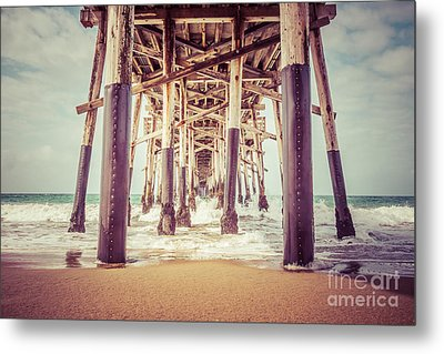 Under The Pier In Orange County California Picture Metal Print by Paul Velgos