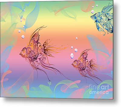 Under The Sea Angel Fish Metal Print by Cheryl Young