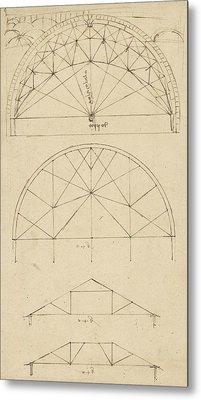 Underdrawing For Building Temporary Arch Metal Print by Leonardo Da Vinci