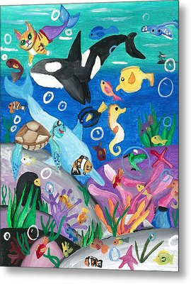 Underwater With Kitty And Friends Metal Print by Artists With Autism Inc