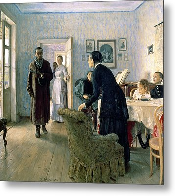 Unexpected, 1884-88 Oil On Canvas Metal Print by Ilya Efimovich Repin
