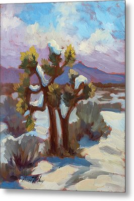 Unexpected Snowfall At Joshua Tree Metal Print by Diane McClary