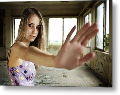 Unhappy Girl Showing Stop Metal Print by Radka Linkova