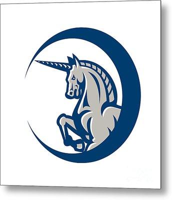 Unicorn Horse Prancing Side Metal Print by Aloysius Patrimonio