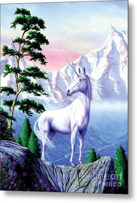 Unicorn The Land That Time Forgot Metal Print by Garry Walton