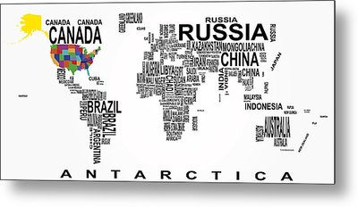 United States And The Rest Of The World In Text Map Metal Print by Daniel Hagerman