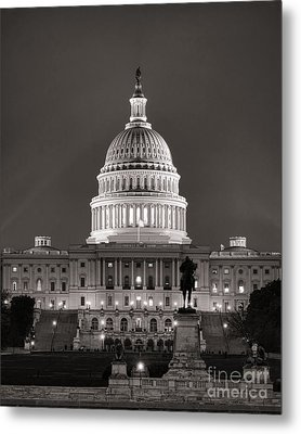 United States Capitol At Night Metal Print by Olivier Le Queinec