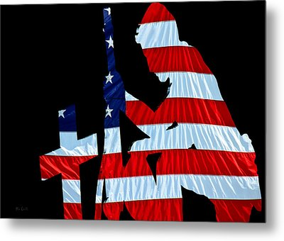 A Time To Remember United States Flag With Kneeling Soldier Silhouette Metal Print by Bob Orsillo
