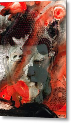 Universal Qi - Zen Black And Red Art Metal Print by Sharon Cummings