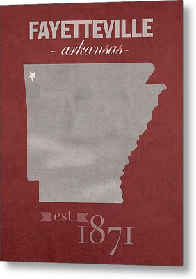 University Of Arkansas Razorbacks Fayetteville College Town State Map Poster Series No 013 Metal Print by Design Turnpike