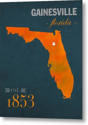 University Of Florida Gators Gainesville College Town Florida State Map Poster Series No 003 Metal Print by Design Turnpike