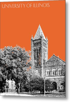 University Of Illinois 2 - Altgeld Hall - Coral Metal Print by DB Artist