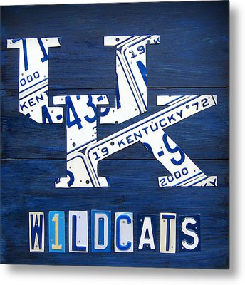 University Of Kentucky Wildcats Sports Team Retro Logo Recycled Vintage Bluegrass State License Plate Art Metal Print by Design Turnpike