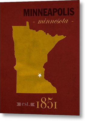 University Of Minnesota Golden Gophers Minneapolis College Town State Map Poster Series No 066 Metal Print by Design Turnpike