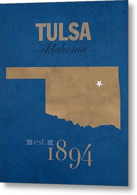 University Of Tulsa Oklahoma Golden Hurricane College Town State Map Poster Series No 115 Metal Print by Design Turnpike