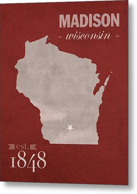 University Of Wisconsin Badgers Madison Wi College Town State Map Poster Series No 127 Metal Print by Design Turnpike