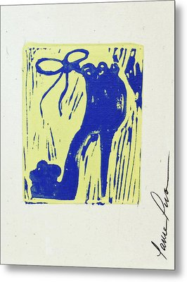 Untitled Shoe Print In Blue And Green Metal Print by Lauren Luna