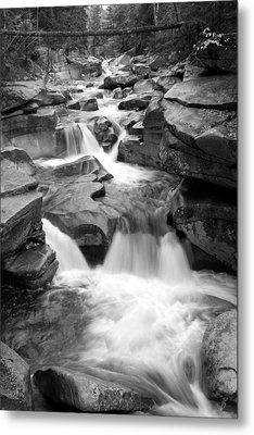 Upper Ammonoosuc Falls Black And White Metal Print by Brett Pelletier