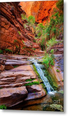 Upper Elves Chasm Cascade Metal Print by Inge Johnsson