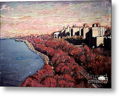 Upper Manhattan Along The Hudson River Metal Print by Sarah Loft