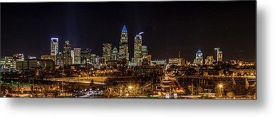 Uptown Charlotte Panorama Metal Print by Randy Scherkenbach