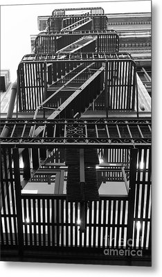 Urban Fabric - Fire Escape Stairs - 5d20592 - Black And White Metal Print by Wingsdomain Art and Photography