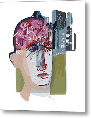 Urban Mental Health Metal Print by Paul Brown