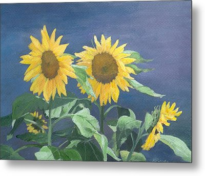 Urban Sunflowers Original Colorful Painting Sunflower Art Decor Sun Flower Artist K Joann Russell    Metal Print by K Joann Russell