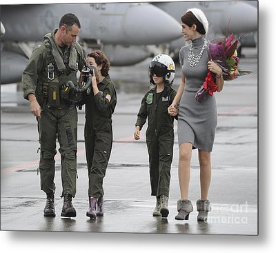 U.s. Aviator Walks With His Family Metal Print by Stocktrek Images