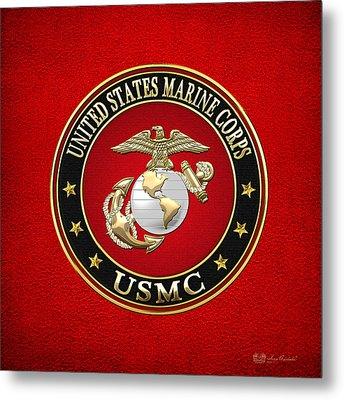 U. S. Marine Corps - U S M C Emblem Special Edition Metal Print by Serge Averbukh