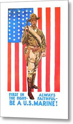 U.s. Marine Metal Print by Presented By American Classic Art