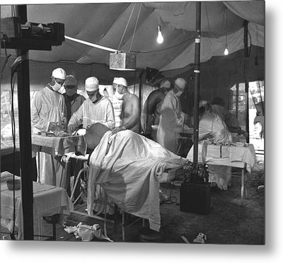 U.s. Navy Doctors And Corpsmen Operate Metal Print by Everett