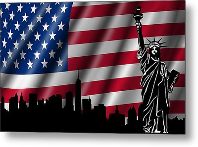 Usa American Flag With Statue Of Liberty Skyline Silhouette Metal Print by David Gn