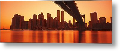 Usa, New York, East River And Brooklyn Metal Print by Panoramic Images