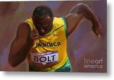 Usain Bolt 2012 Olympics Metal Print by Vannetta Ferguson