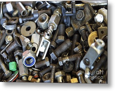 Used Nuts And Bolts Metal Print by Sami Sarkis