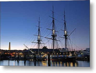 Uss Constitution And Bunker Hill Monument Metal Print by Juergen Roth