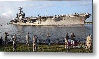 Uss Nimitz Arrives At Joint Base Pearl Metal Print by Stocktrek Images