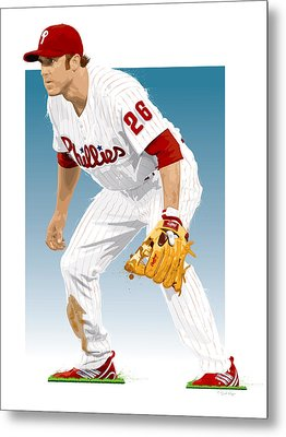Utley In The Ready Metal Print by Scott Weigner